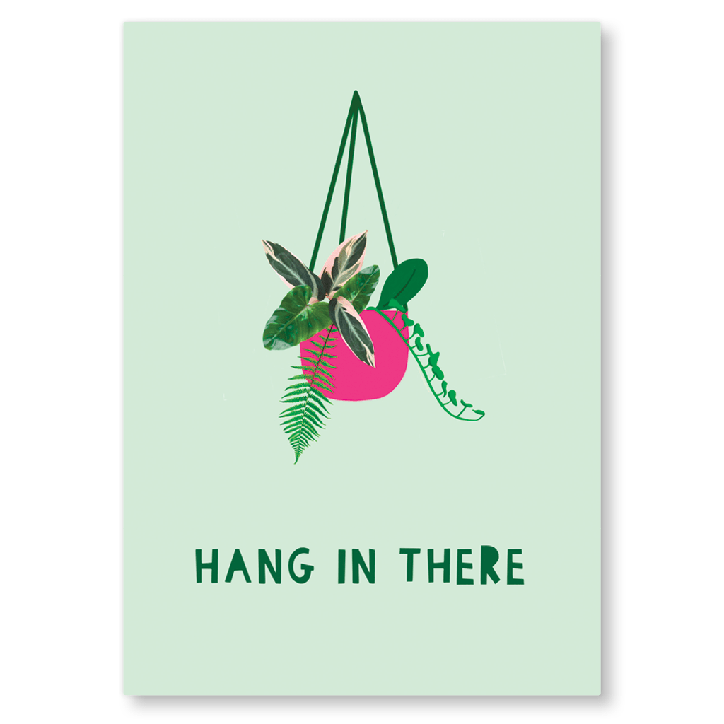 Hang In There Postcard by Zoe Spry - Whale and Bird