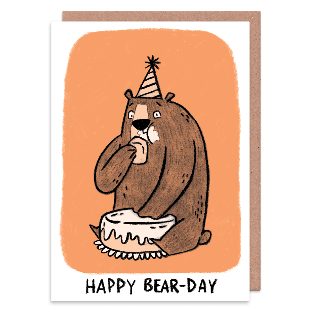 Happy Bear-day Birthday Card by Camille Medina - Whale and Bird