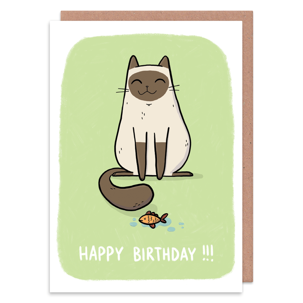 Happy Siamese Cat Birthday Card
