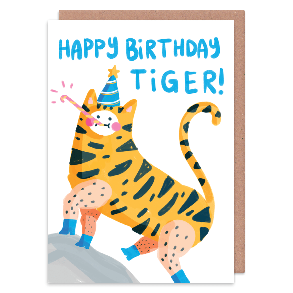 Happy Birthday Tiger Birthday Card by The Happy Chappo - Whale and Bird