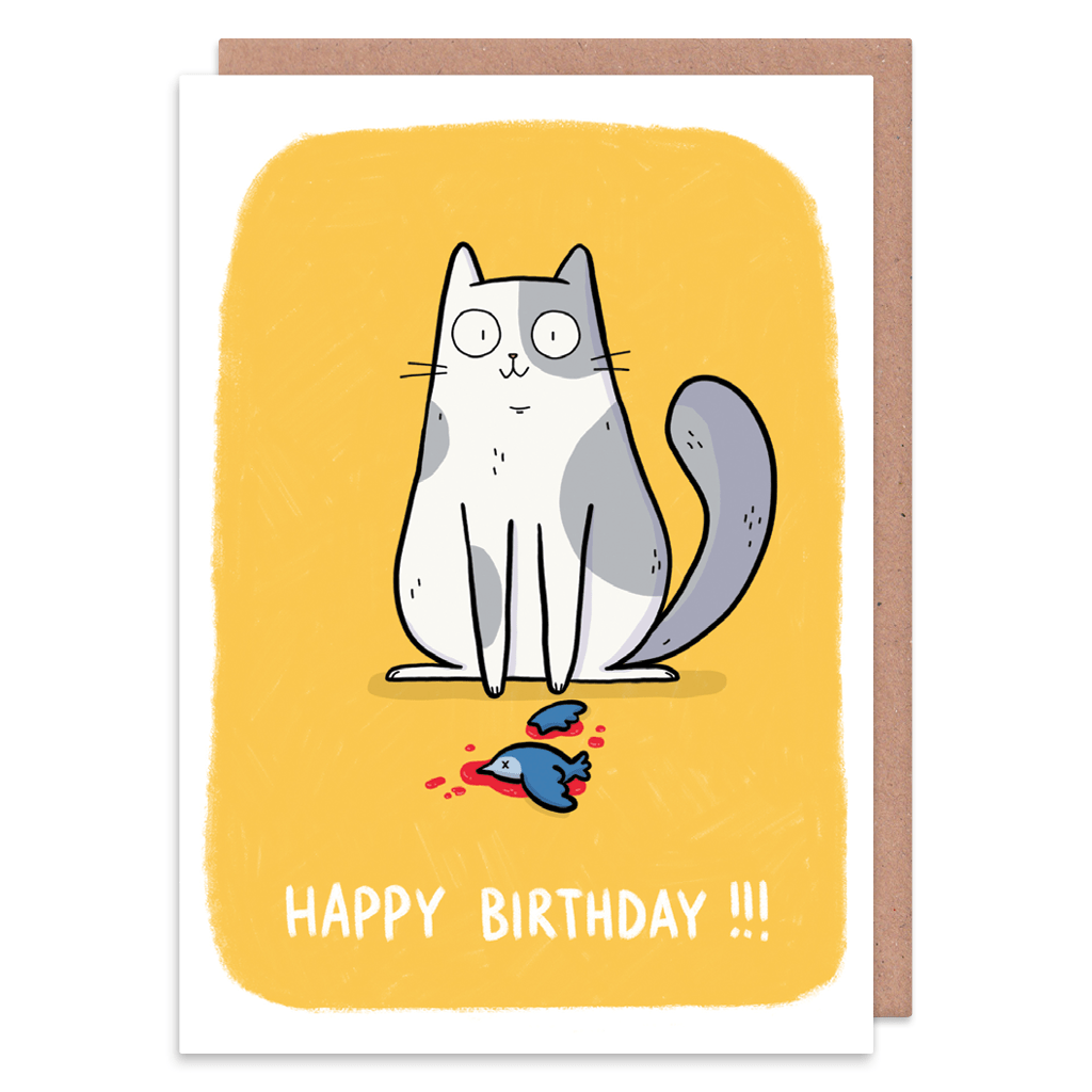 Happy Grey And White Cat Birthday Card