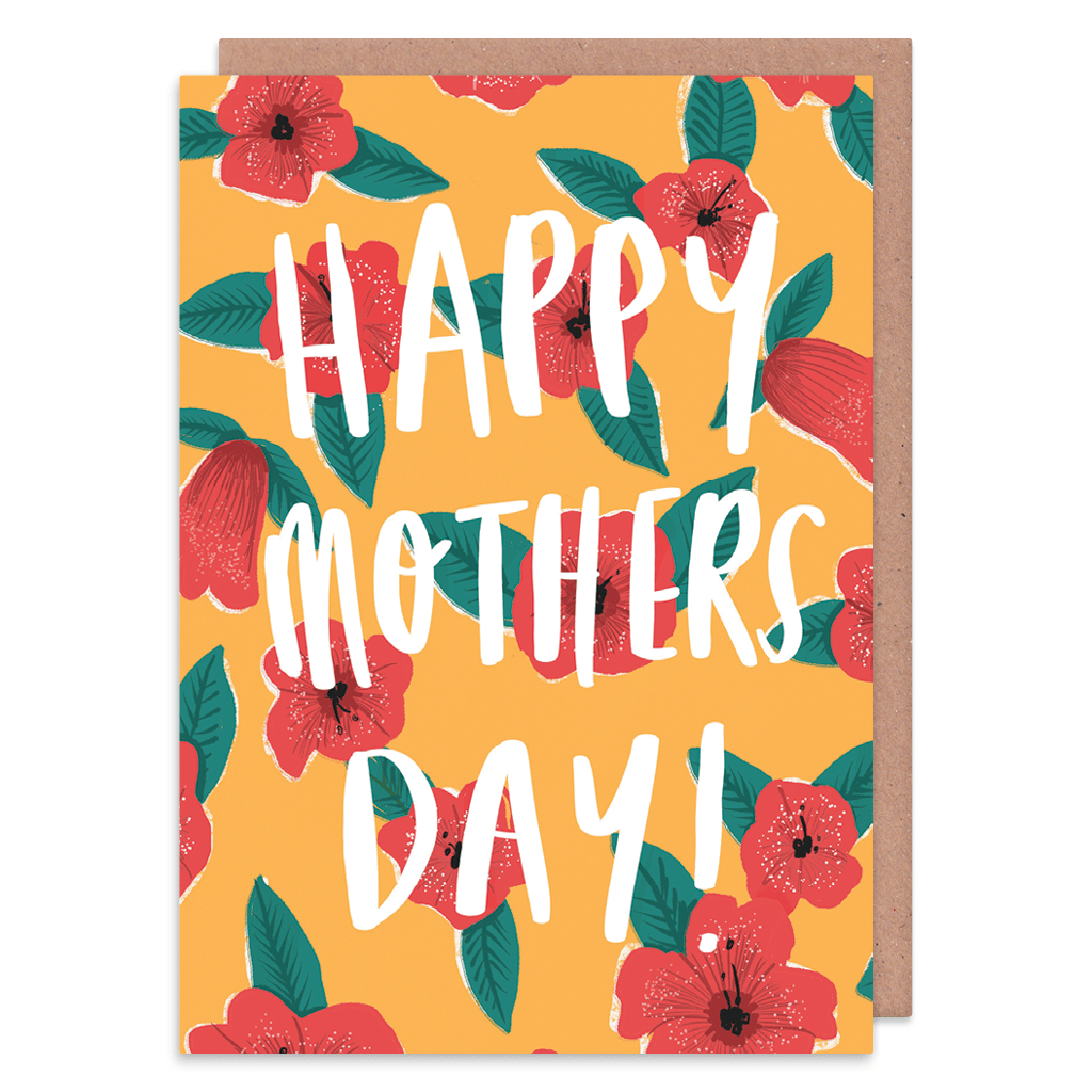 Happy Mothers Day Tropical Flowers Greeting Card by Charly Clements - Whale and Bird