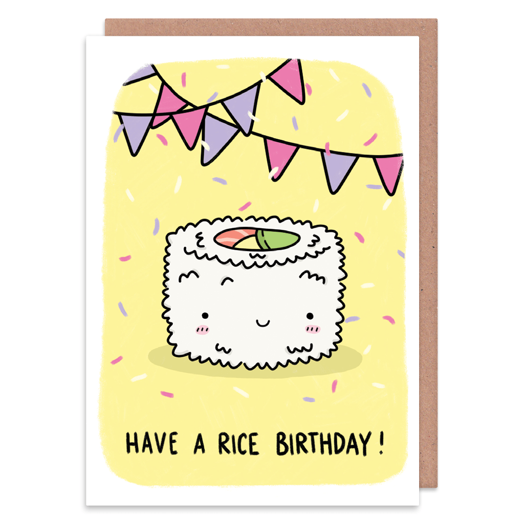Have A Rice Birthday! Birthday Card by Camille Medina - Whale and Bird