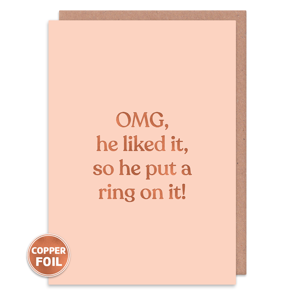 He Likes It So He Put A Ring On It Engagement Card by Amy Wicks - Whale and Bird