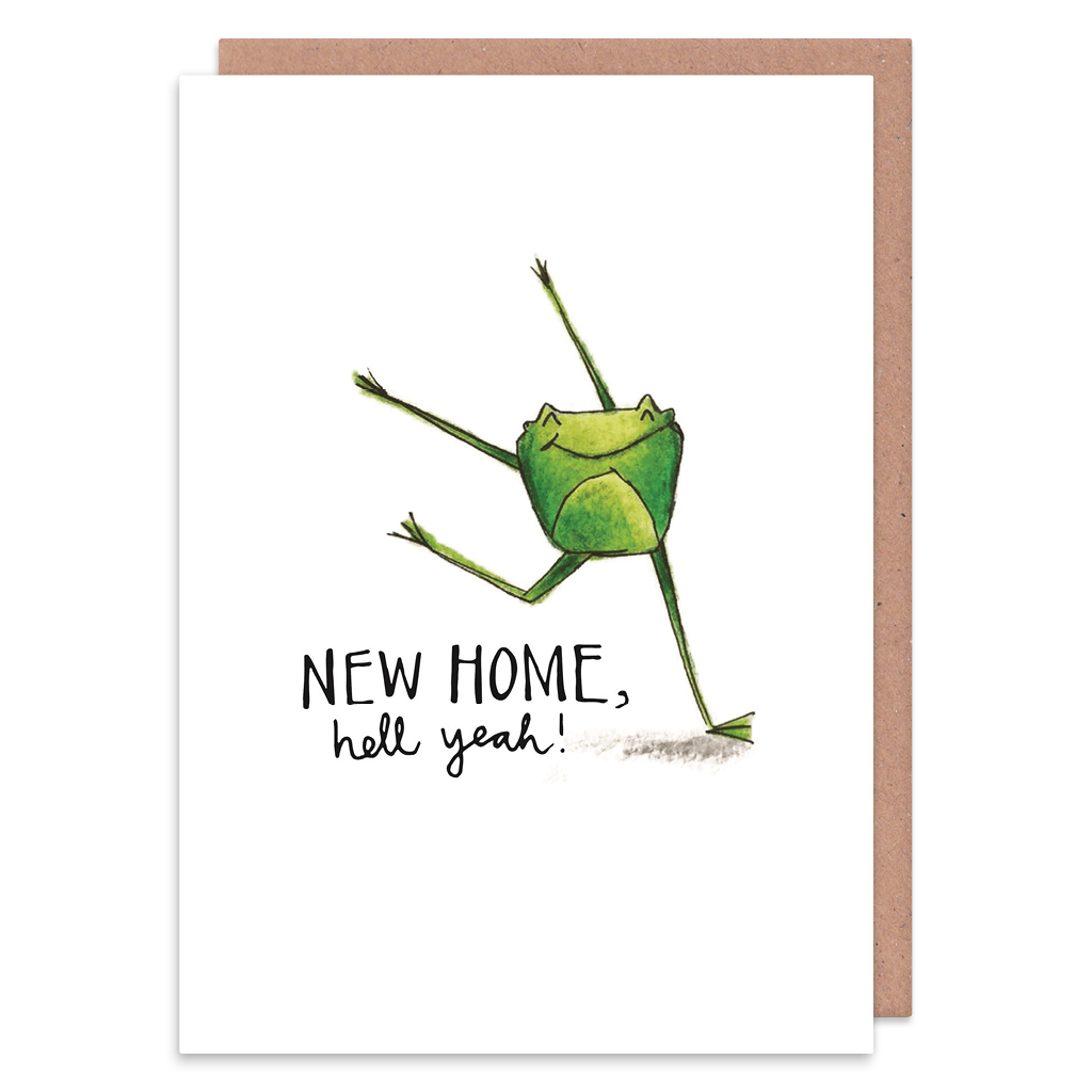 Hell Yeah Frog New Home Card by Holly Rutter - Whale and Bird