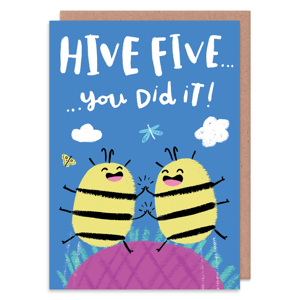 High Five Bumble Bees Congratulations Card by Lisa Greener - Whale and Bird