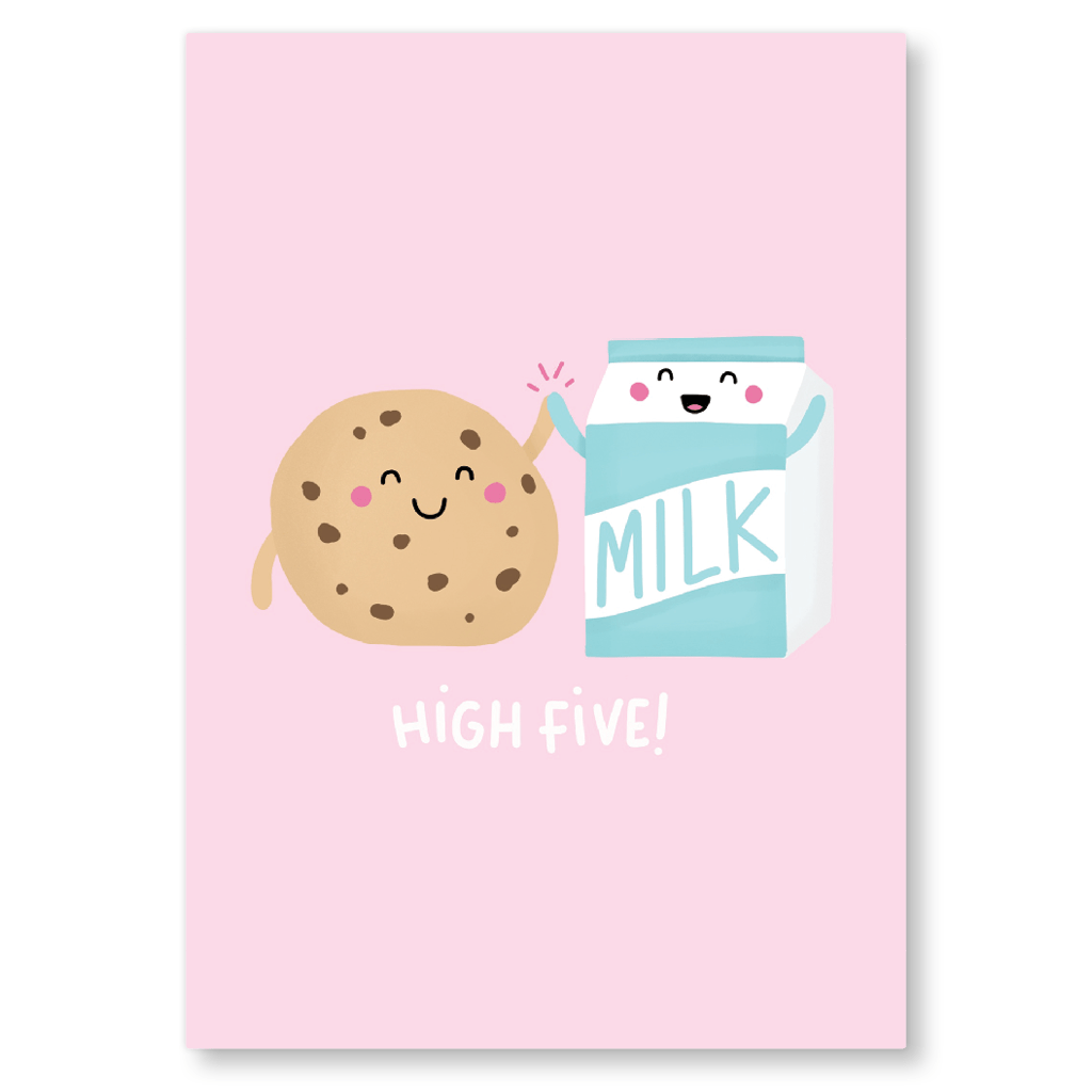 High Five Cookies And Milk Postcard by Nutmeg and Arlo - Whale and Bird