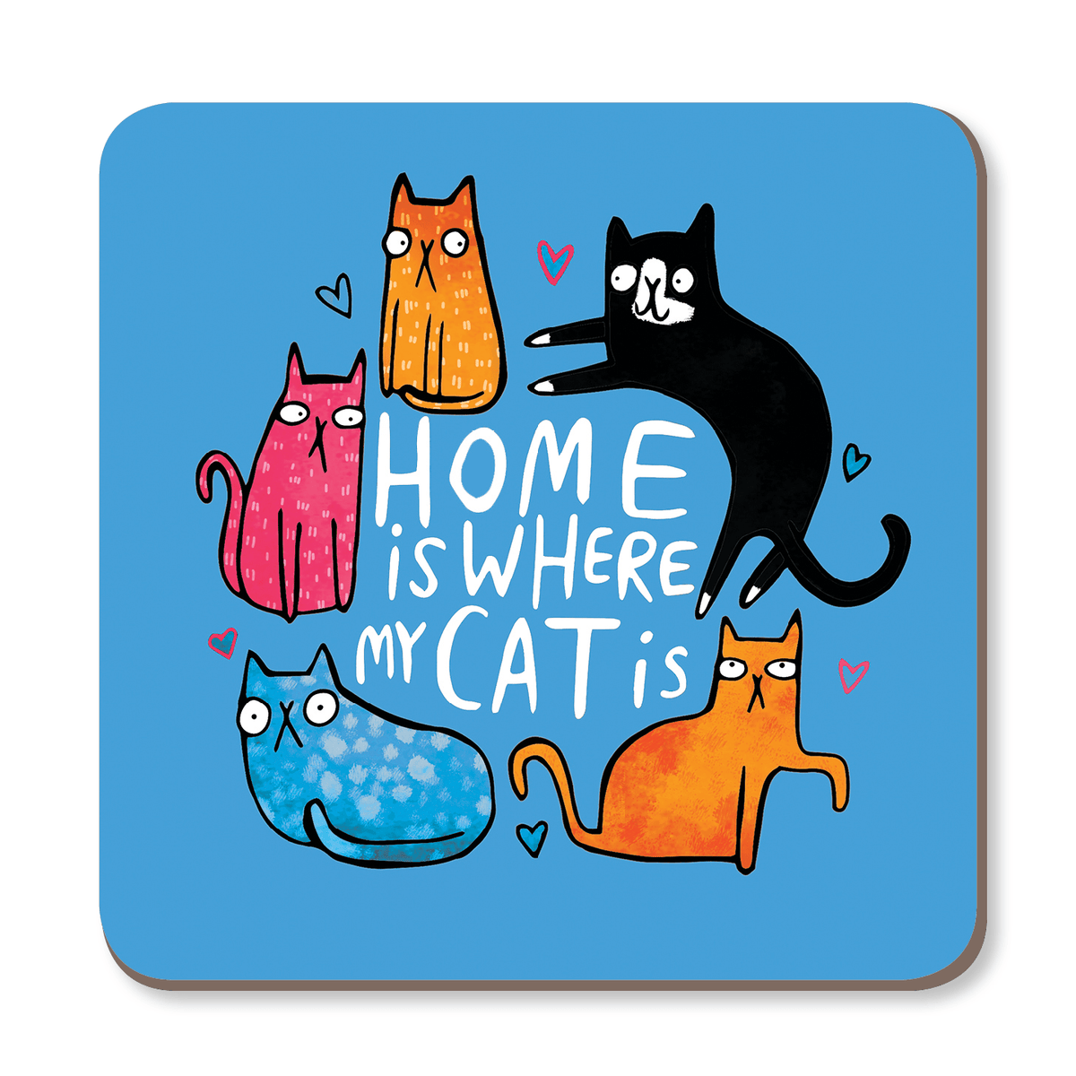 Home Is Where My Cat Is Coaster by Katie Abey - Whale and Bird