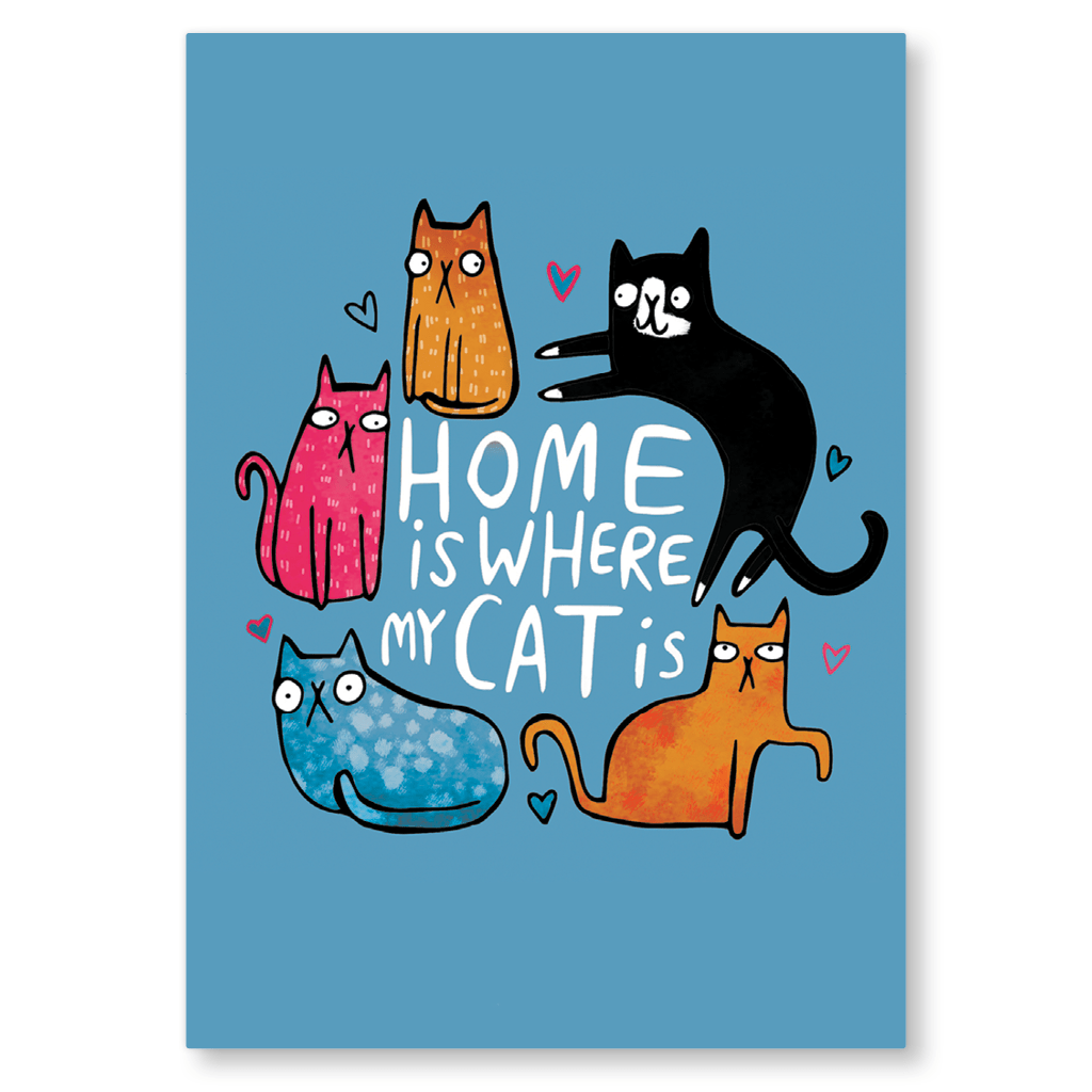 Home Is Where My Cat Is Postcard by Katie Abey - Whale and Bird