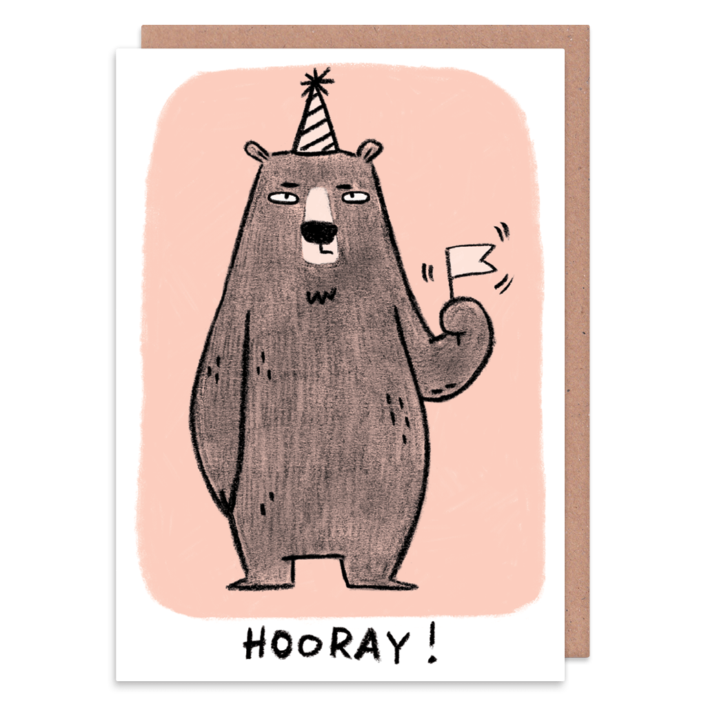 Hooray Grump Bear Greeting Card by Camille Medina - Whale and Bird