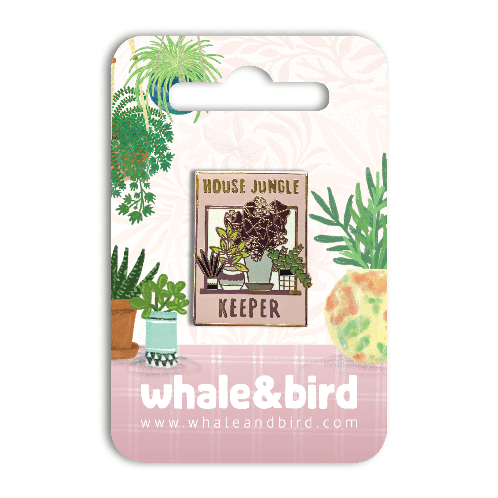 House Jungle Keeper Hard Enamel Pin by Mary Joy Harris - Whale and Bird