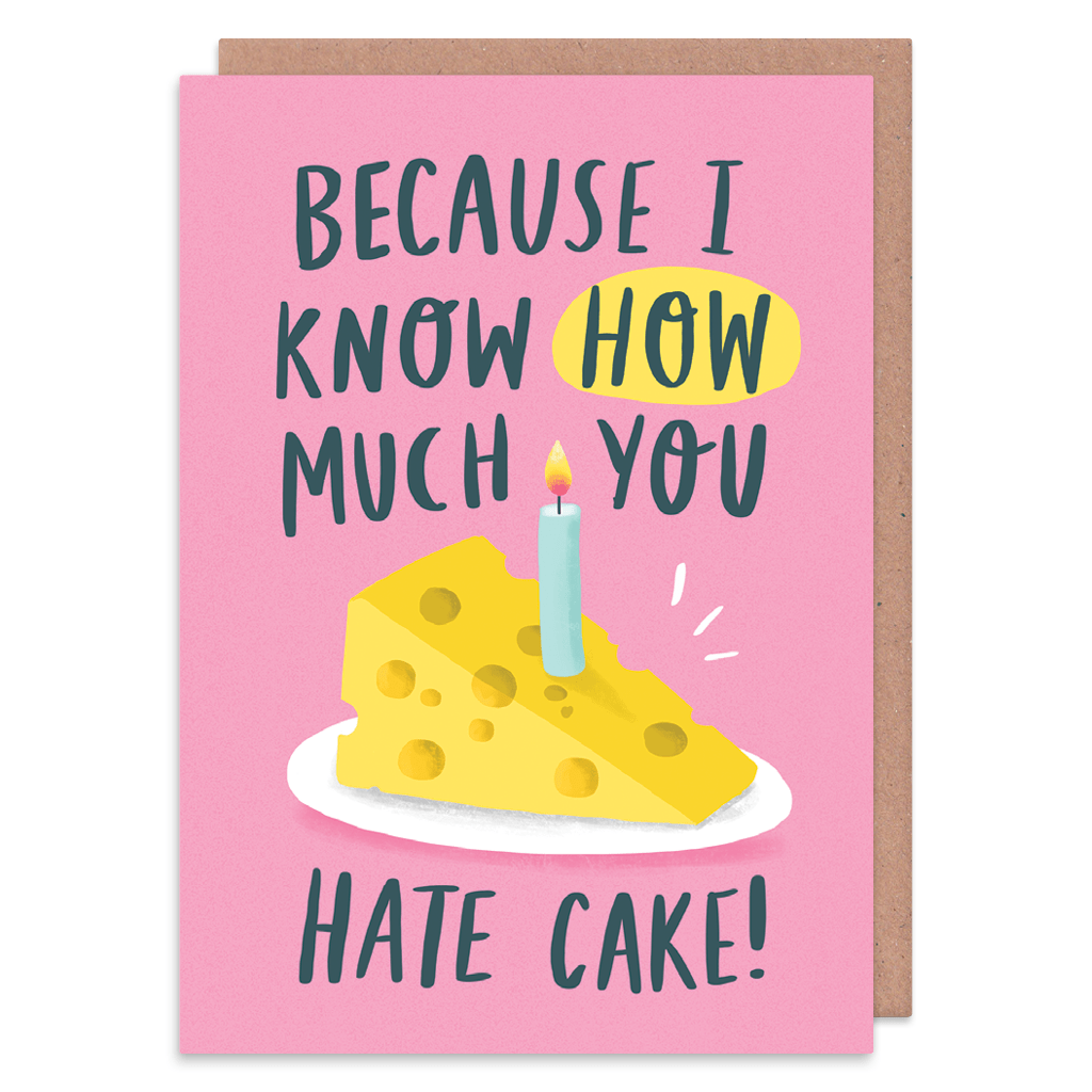 How Much You Hate Cake Birthday Card by Charly Clements - Whale and Bird