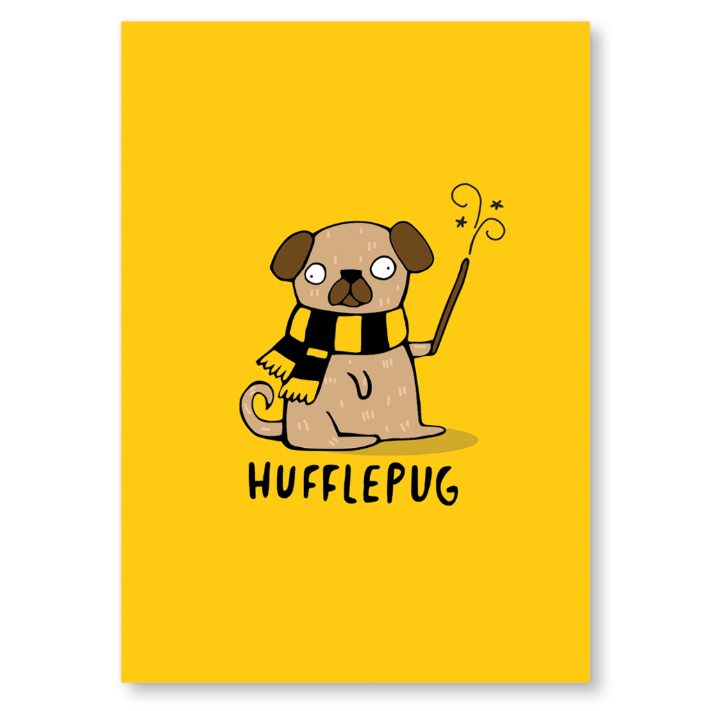 Hufflepug Postcard by Katie Abey - Whale and Bird