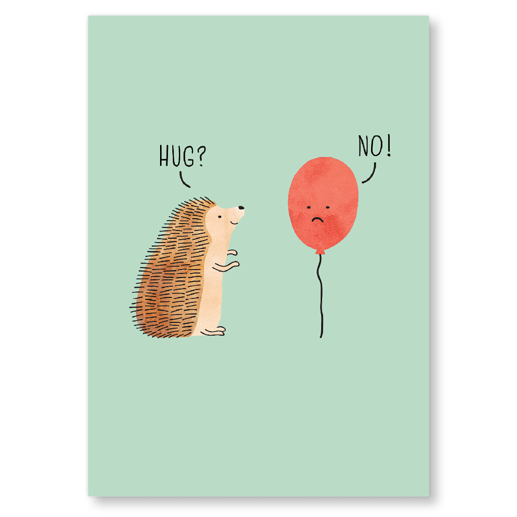 Hedgehog Hug Postcard by Milkyprint - Whale and Bird