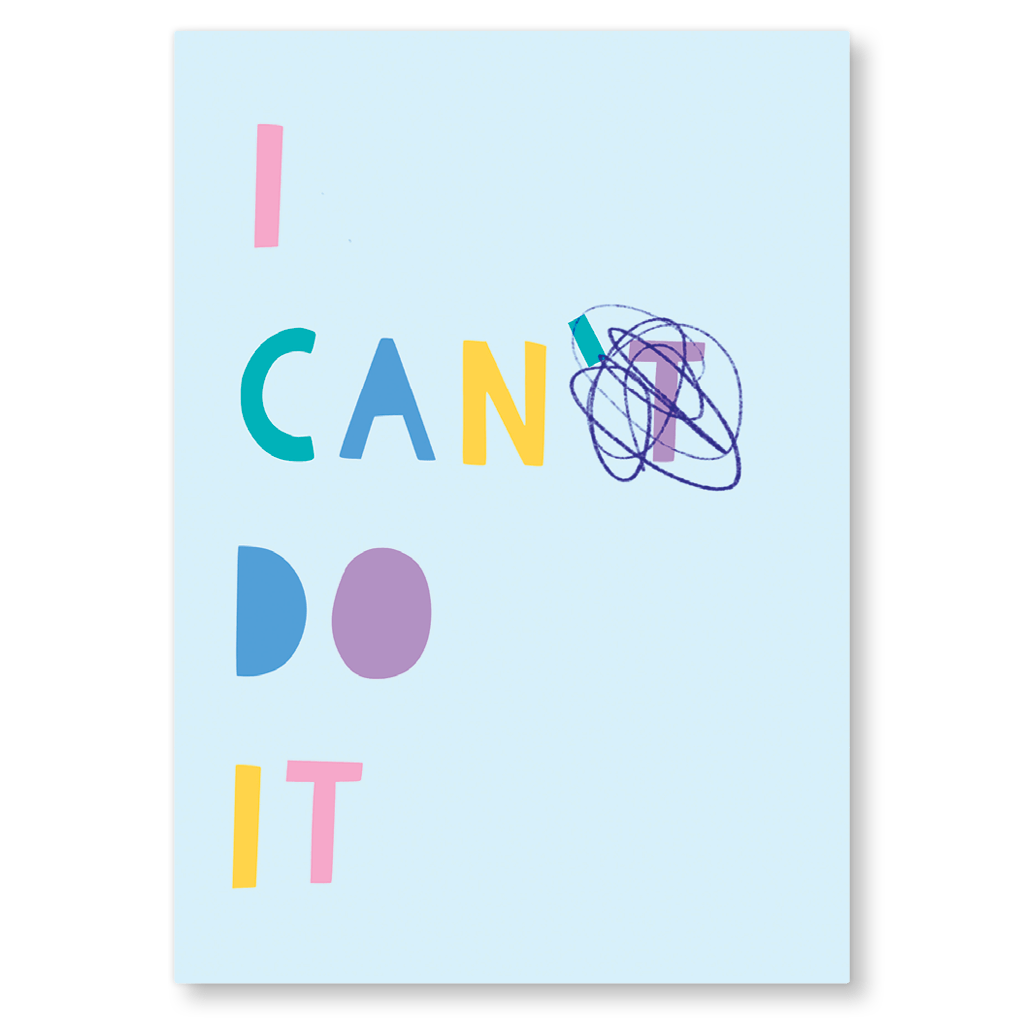 I Can Do It Motivational Postcard by Zoe Spry - Whale and Bird