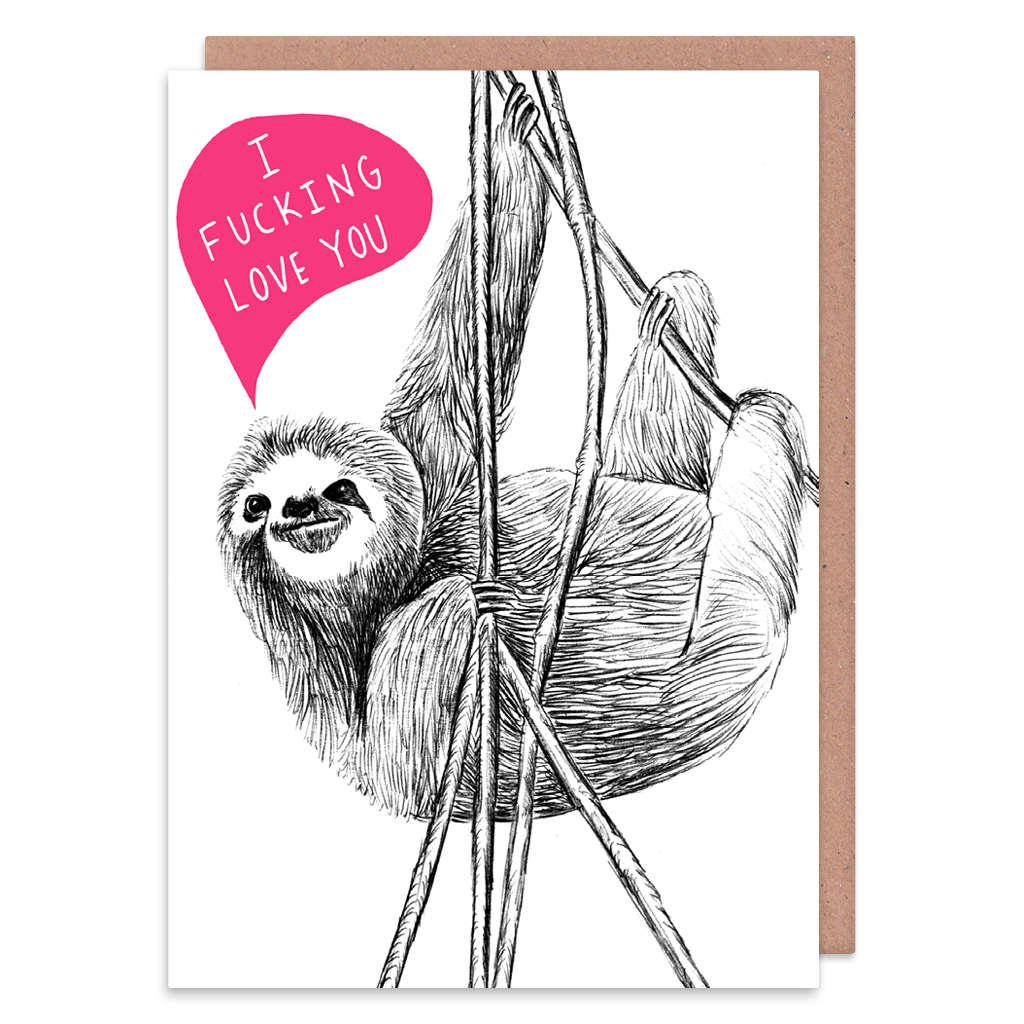 I Love You Sloth Greeting Card by Charly Clements - Whale and Bird