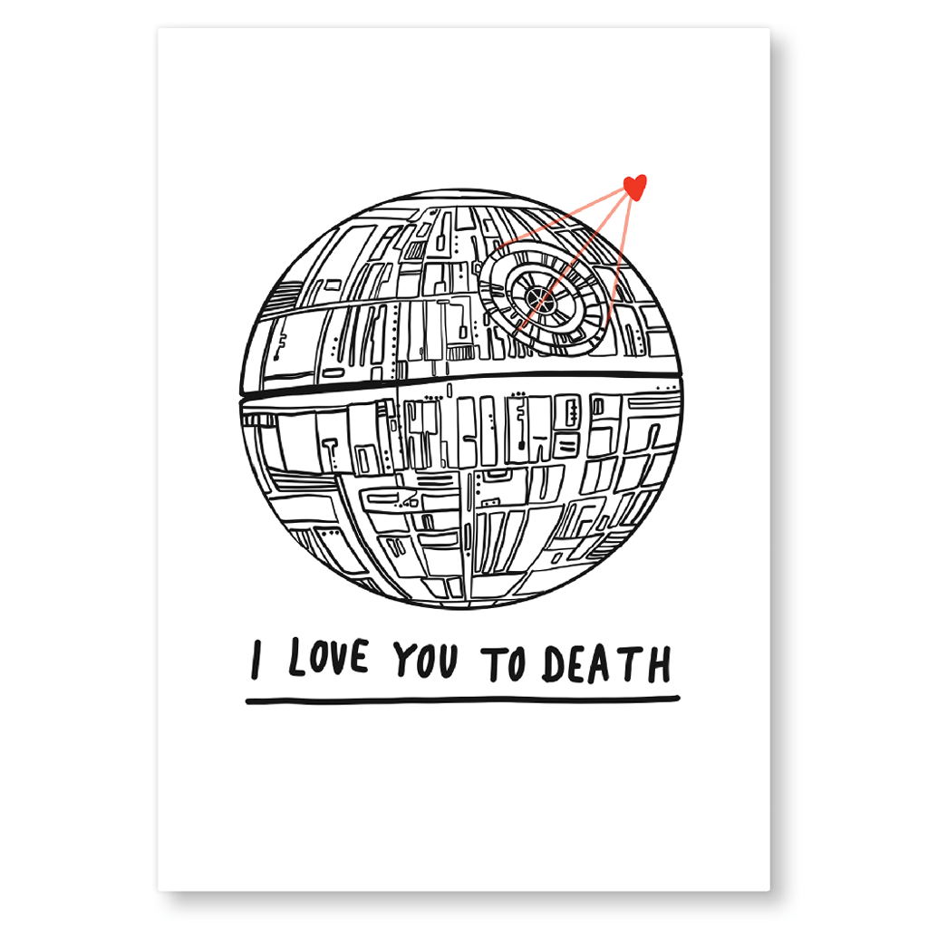 I Love You To Death Deathstar Postcard by Corrin Strain - Whale and Bird