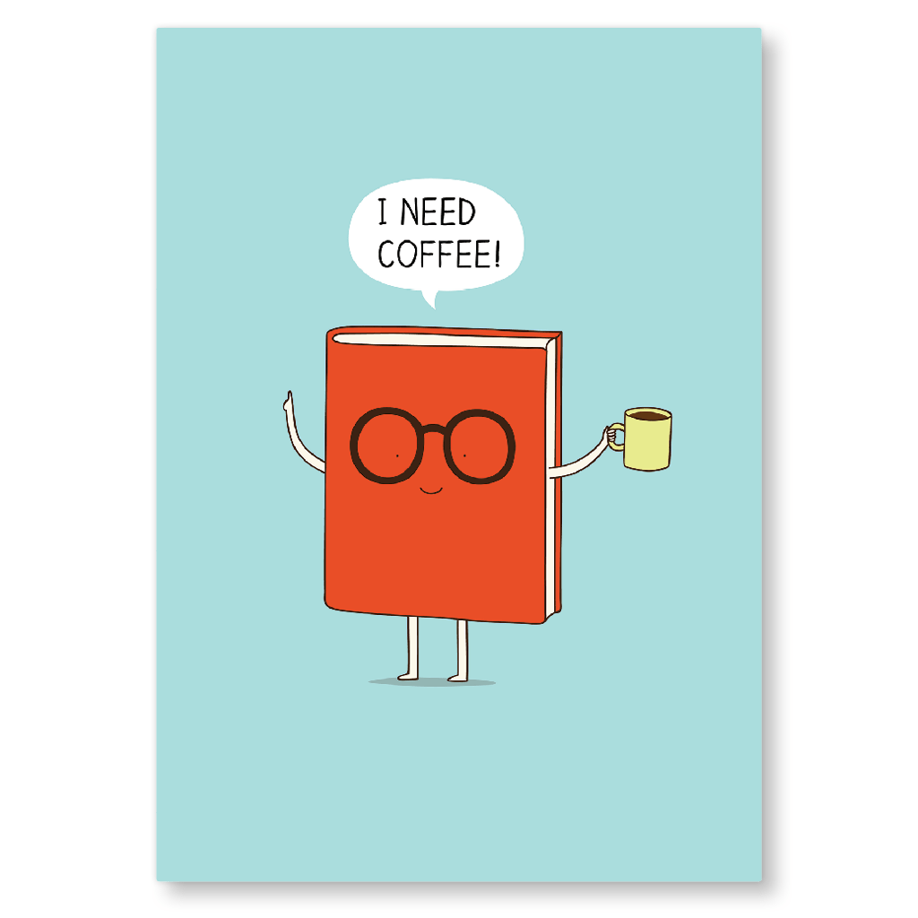 I Need Coffee Postcard by Milkyprint - Whale and Bird