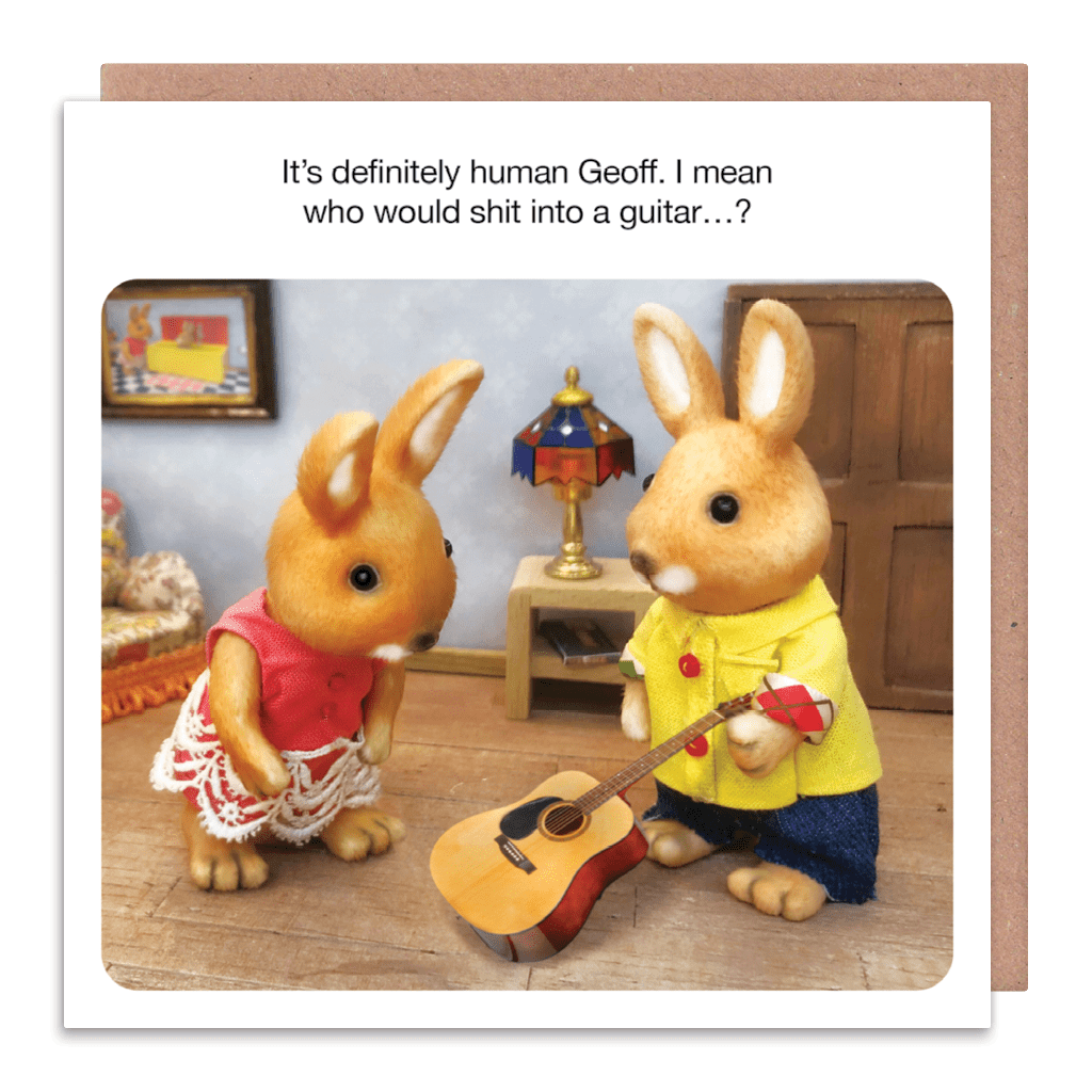 It's Definitely Human Geoff. I Mean Who Would Shit Into A Guitar Greeting Card by forest fr1ends - Whale and Bird