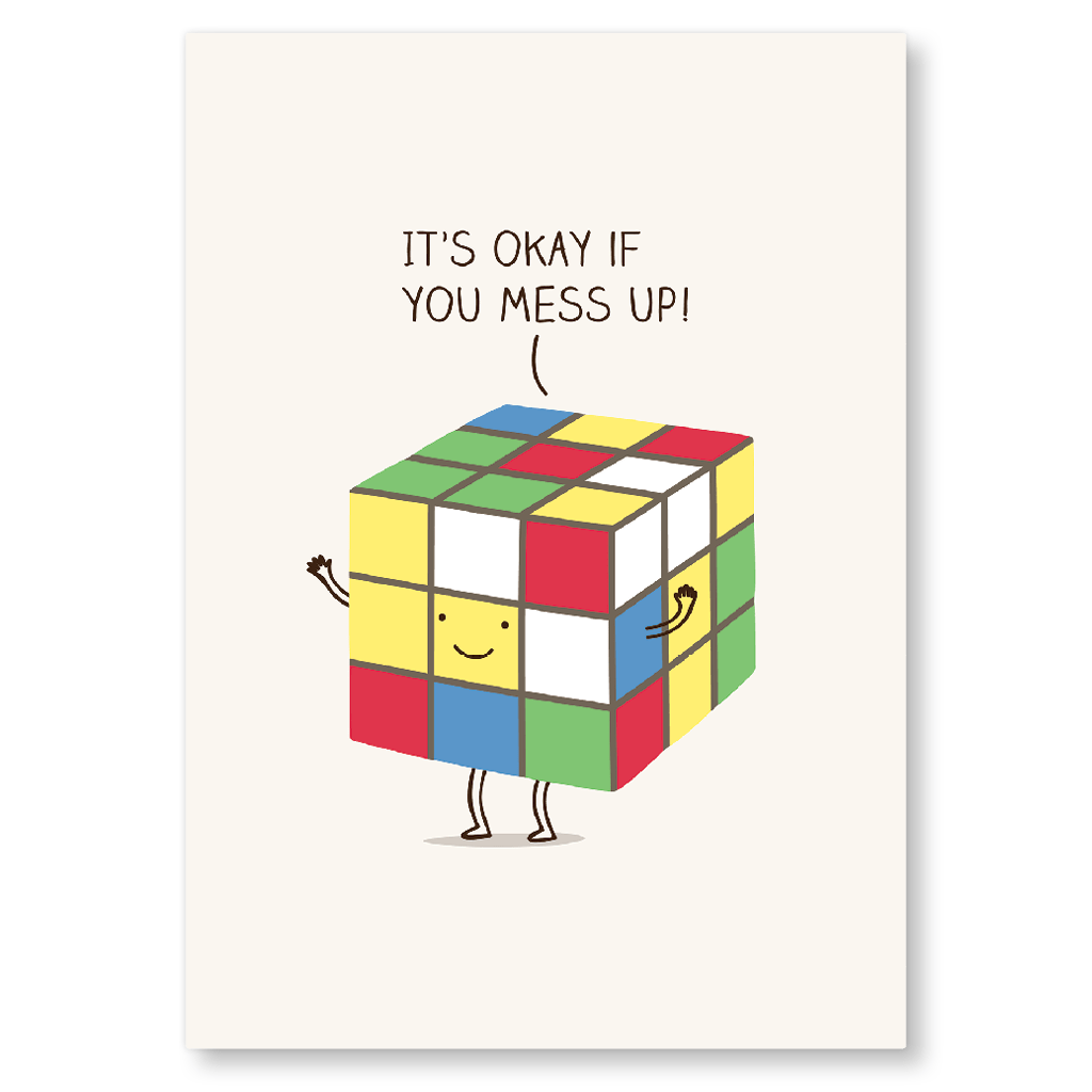 It's Okay If You Mess Up Rubix Cube Postcard by Milkyprint - Whale and Bird
