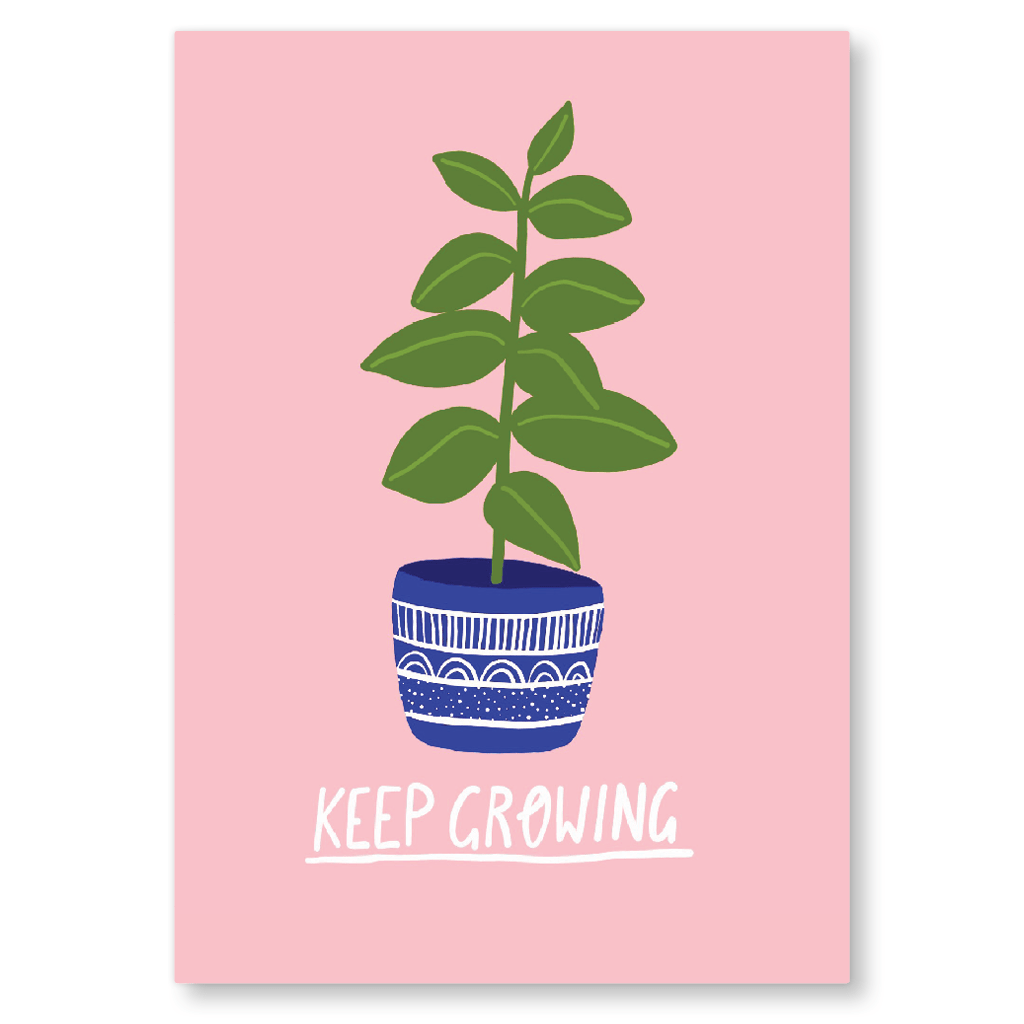 Keep Growing Postcard by Corrin Strain - Whale and Bird