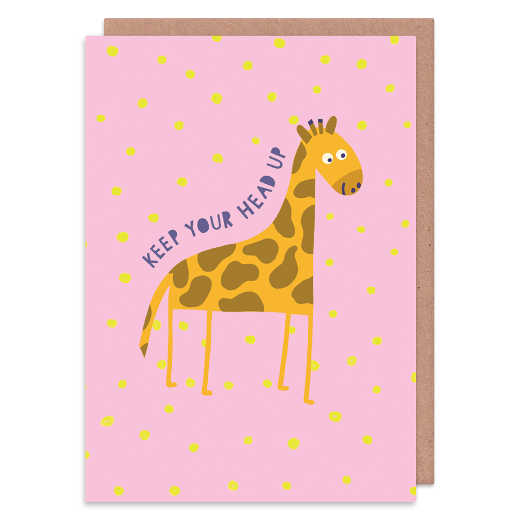 Keep Your Head Up Giraffe Greeting Card by Zoe Spry - Whale and Bird