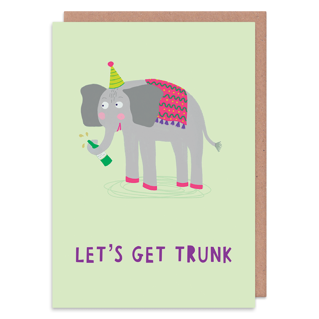 Let's Get Trunk Elephant Greeting Card by Zoe Spry - Whale and Bird