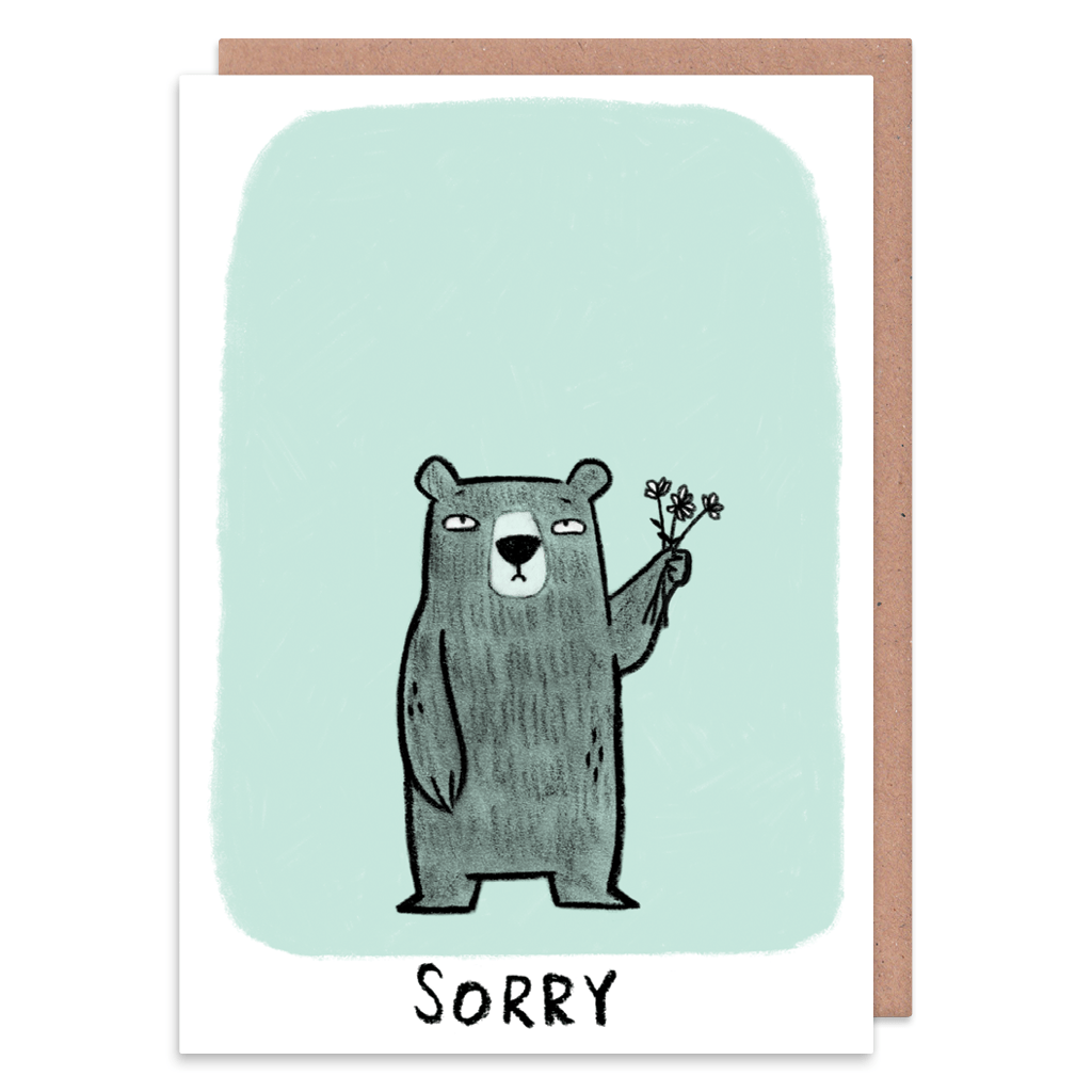 Little Bear Sorry Card by Camille Medina - Whale and Bird