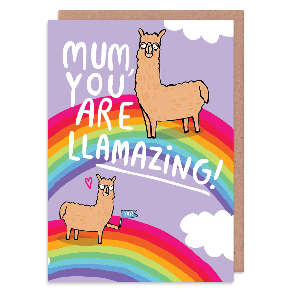 Mum, You Are Llamazing! Greeting Card by Katie Abey - Whale and Bird