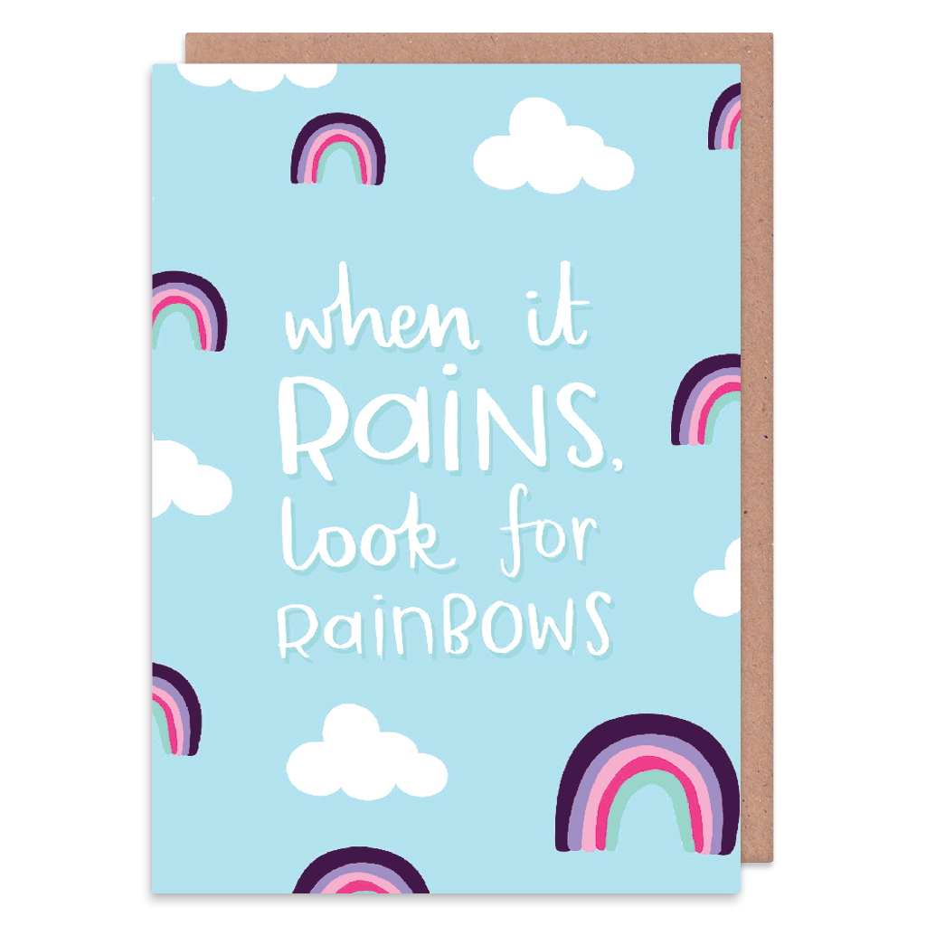 When It Rains Look For Rainbows Greeting Card by Nutmeg and Arlo - Whale and Bird