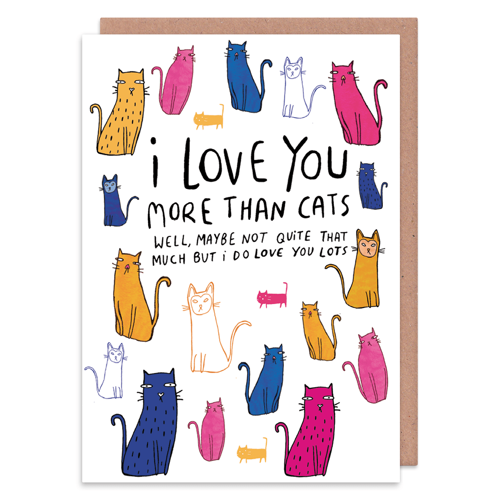Love You More Than Cats Greeting Card by Katie Abey - Whale and Bird