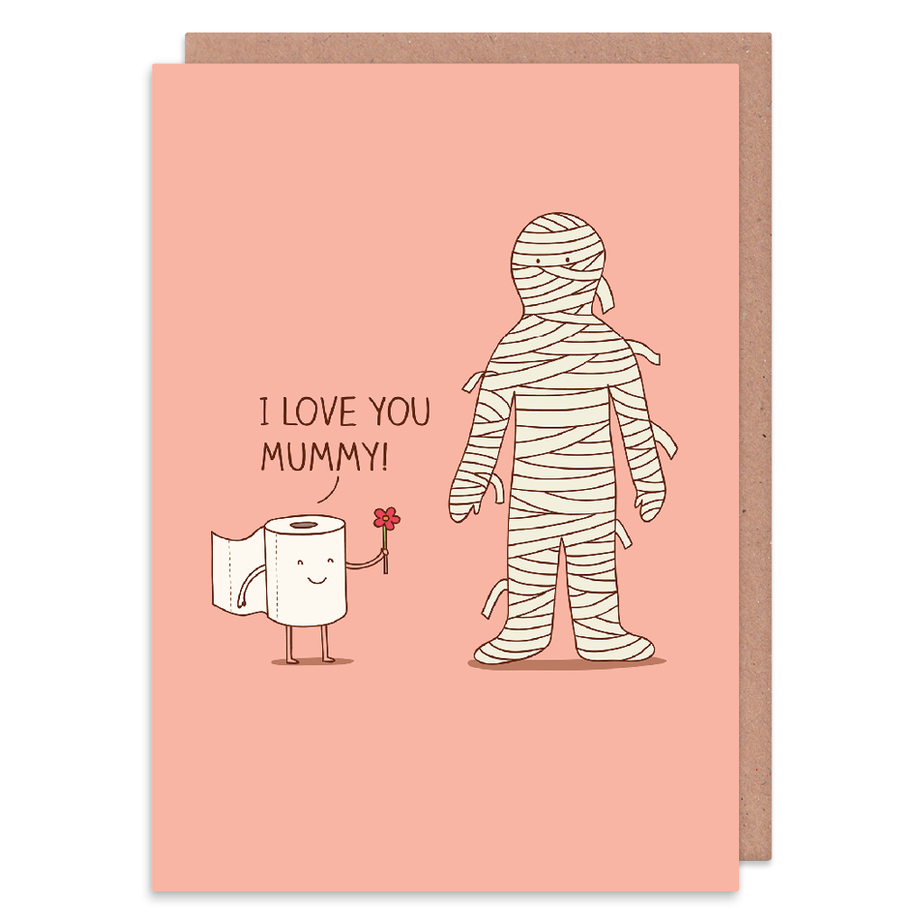 I Love You Mummy Greeting Card by Milkyprint - Whale and Bird