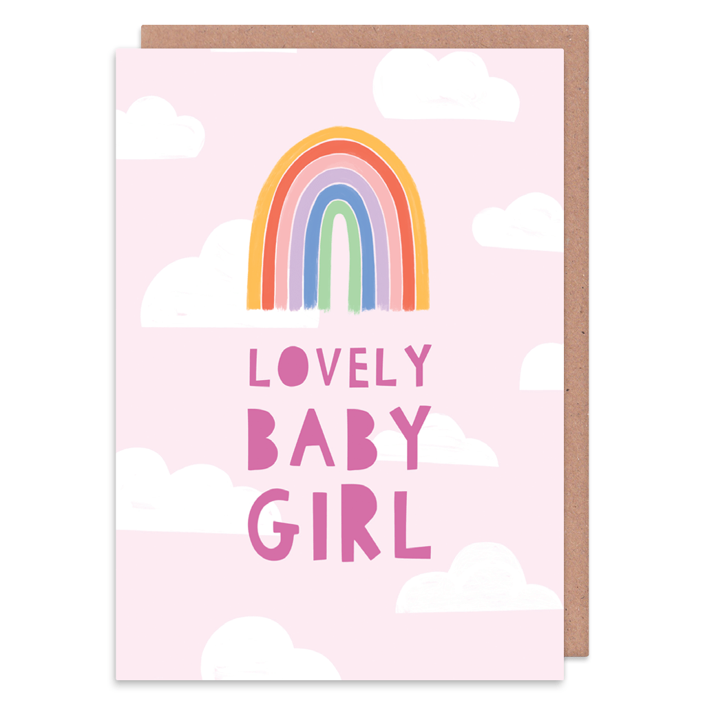 Lovely Baby Girl New Baby Card by Zoe Spry - Whale and Bird