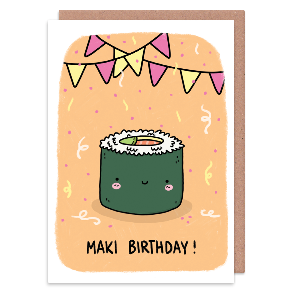 Maki Birthday Sushi Birthday Card by Camille Medina - Whale and Bird