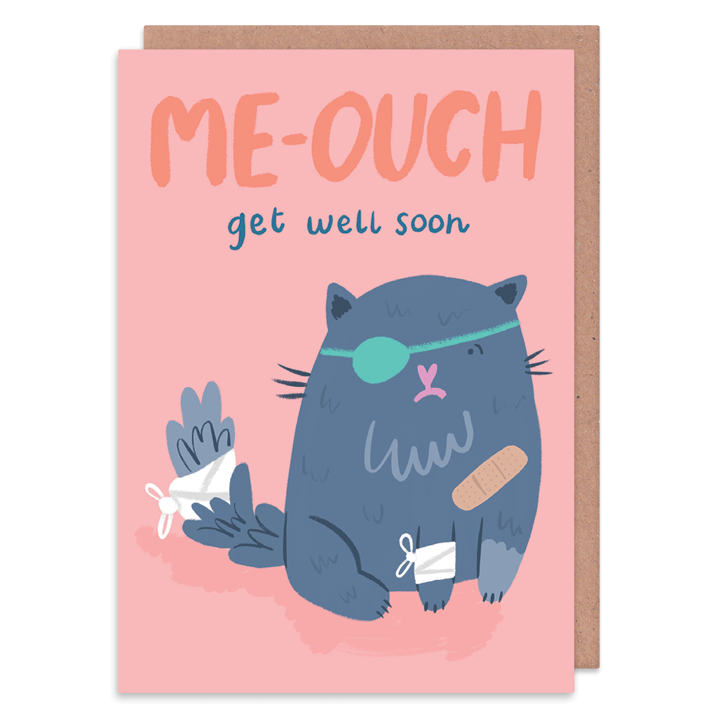 Me-ouch Cat Get Well Soon Card by Lisa Greener - Whale and Bird