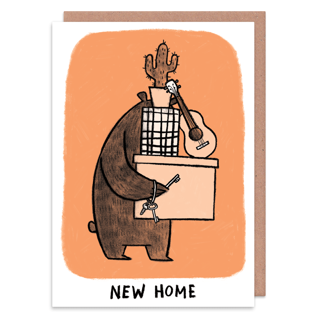 Moving Grumpy Bear New Home Card by Camille Medina - Whale and Bird