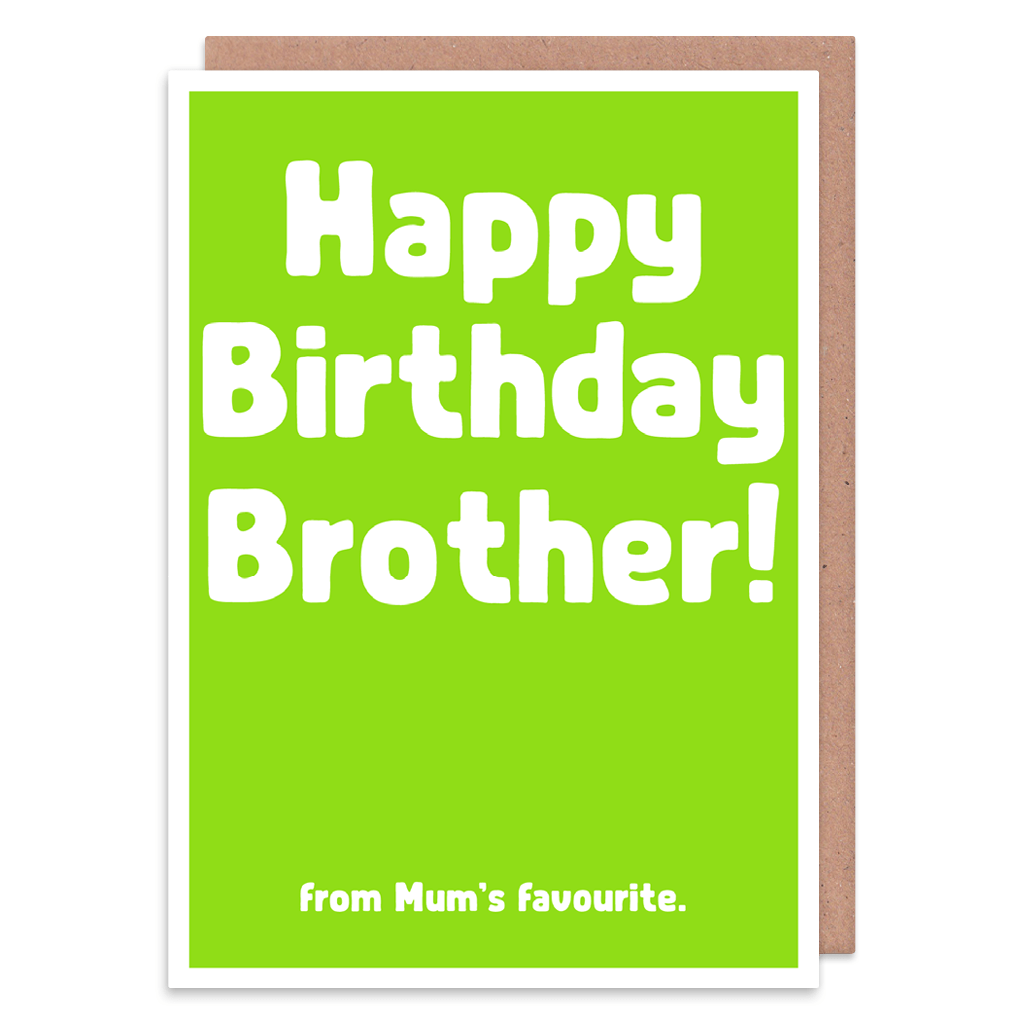 Happy Birthday Brother From Mum's Favourite Birthday Card by The Spork Collection - Whale and Bird