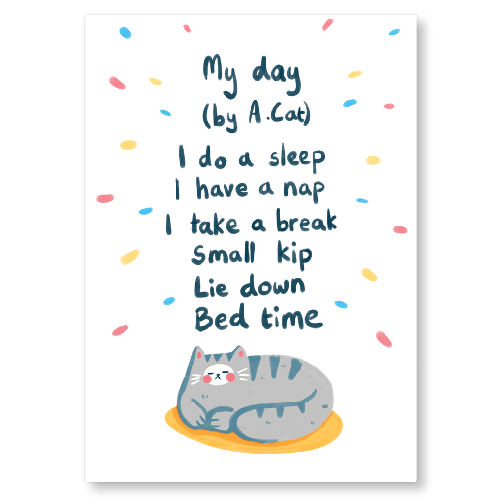 My Day By A Cat Postcard by The Happy Chappo - Whale and Bird