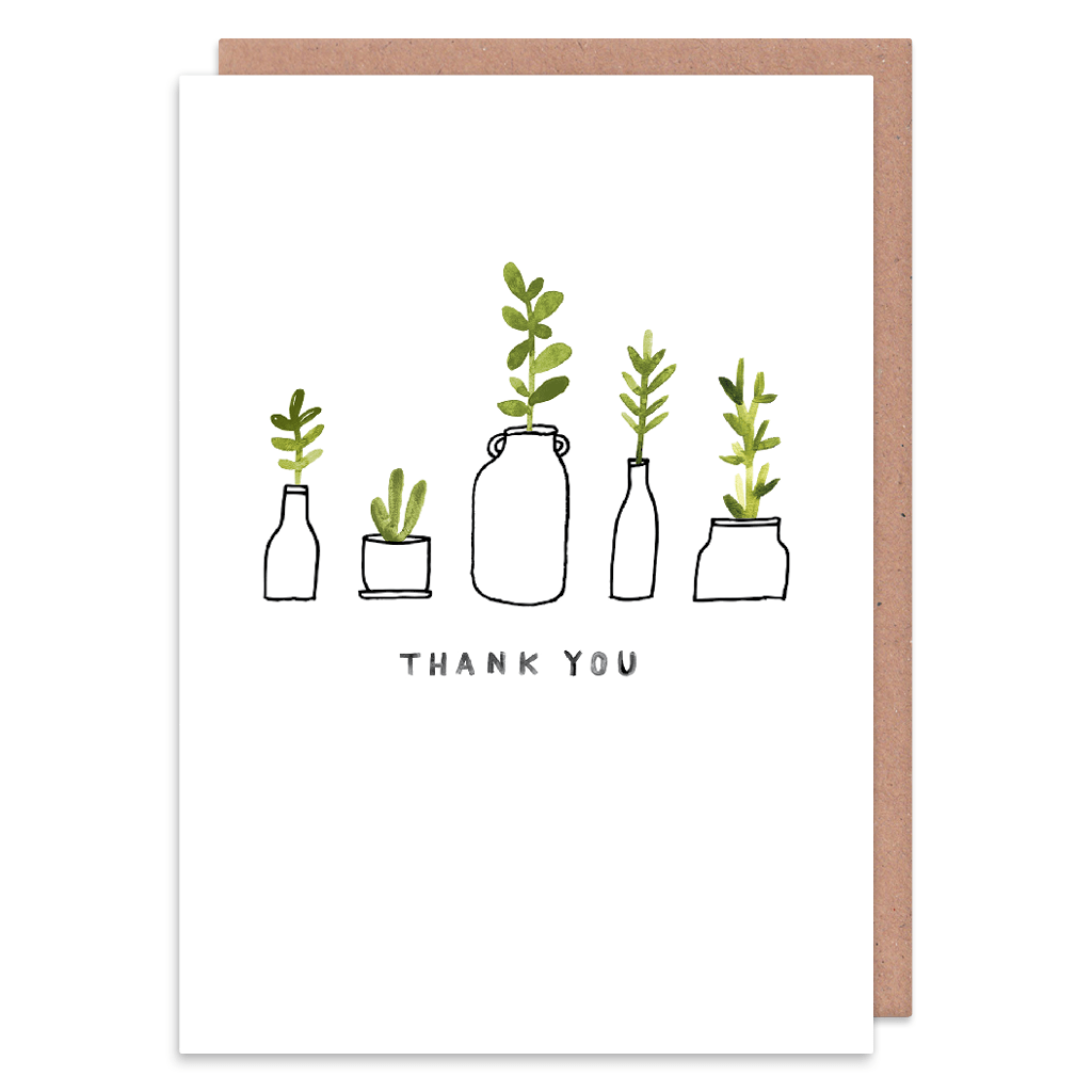 Nice Plants Thank You Card by Jen B Peters - Whale and Bird