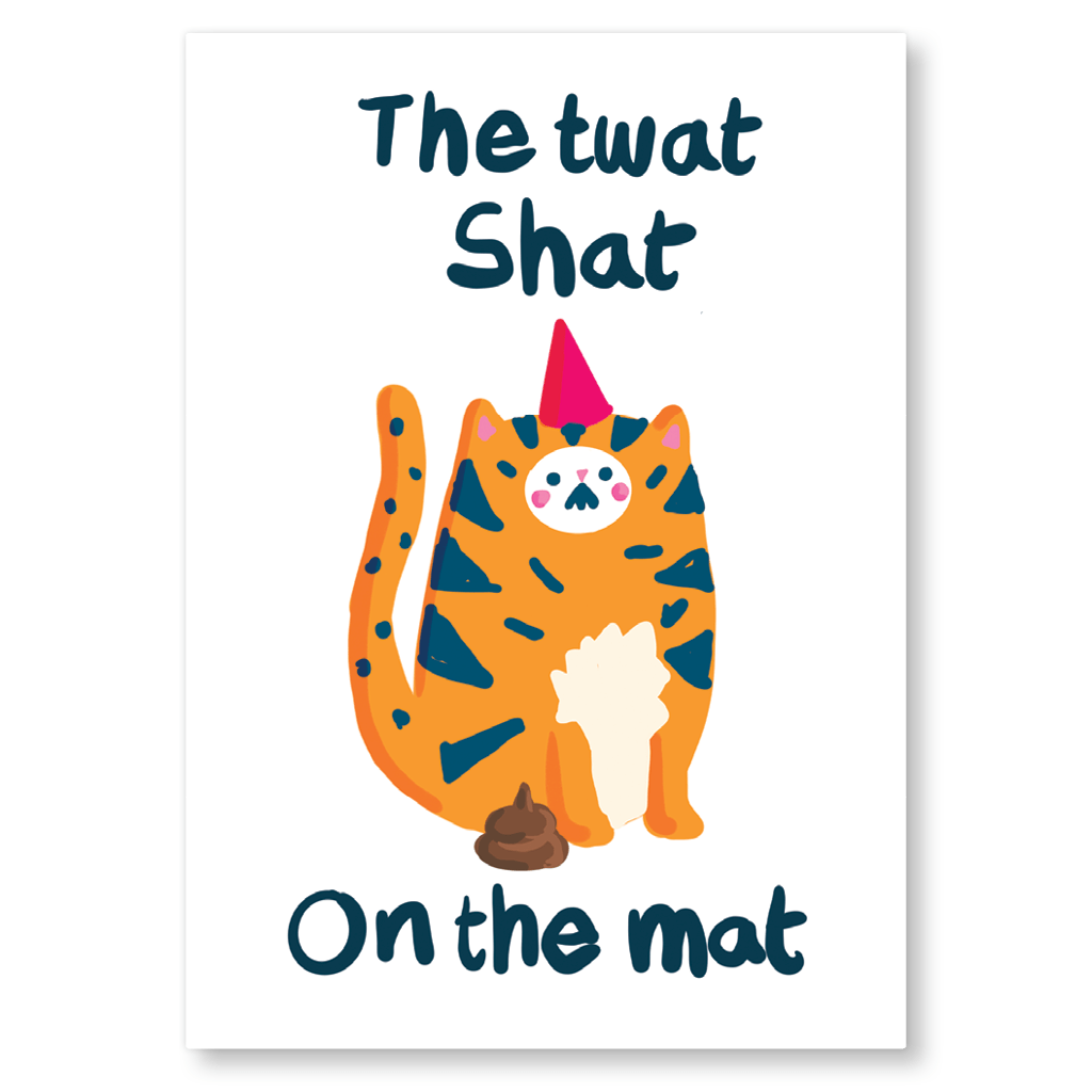 The Twat Shat On The Mat Postcard by The Happy Chappo - Whale and Bird