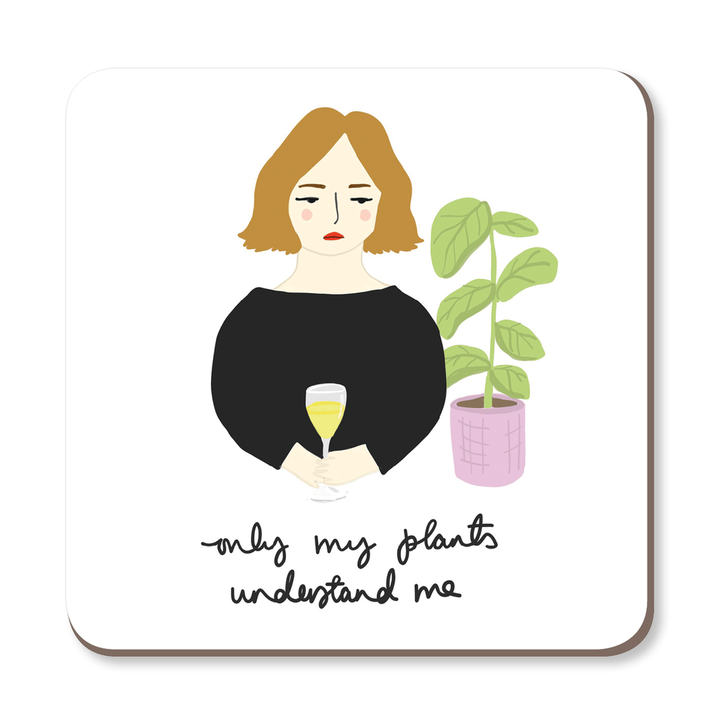 Only My Plants Understand Me Coaster by Corrin Strain - Whale and Bird