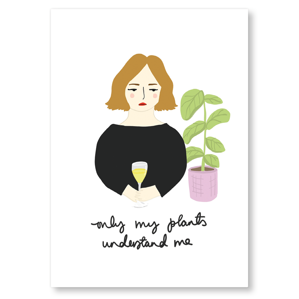 Only My Plants Understand Me Postcard by Corrin Strain - Whale and Bird