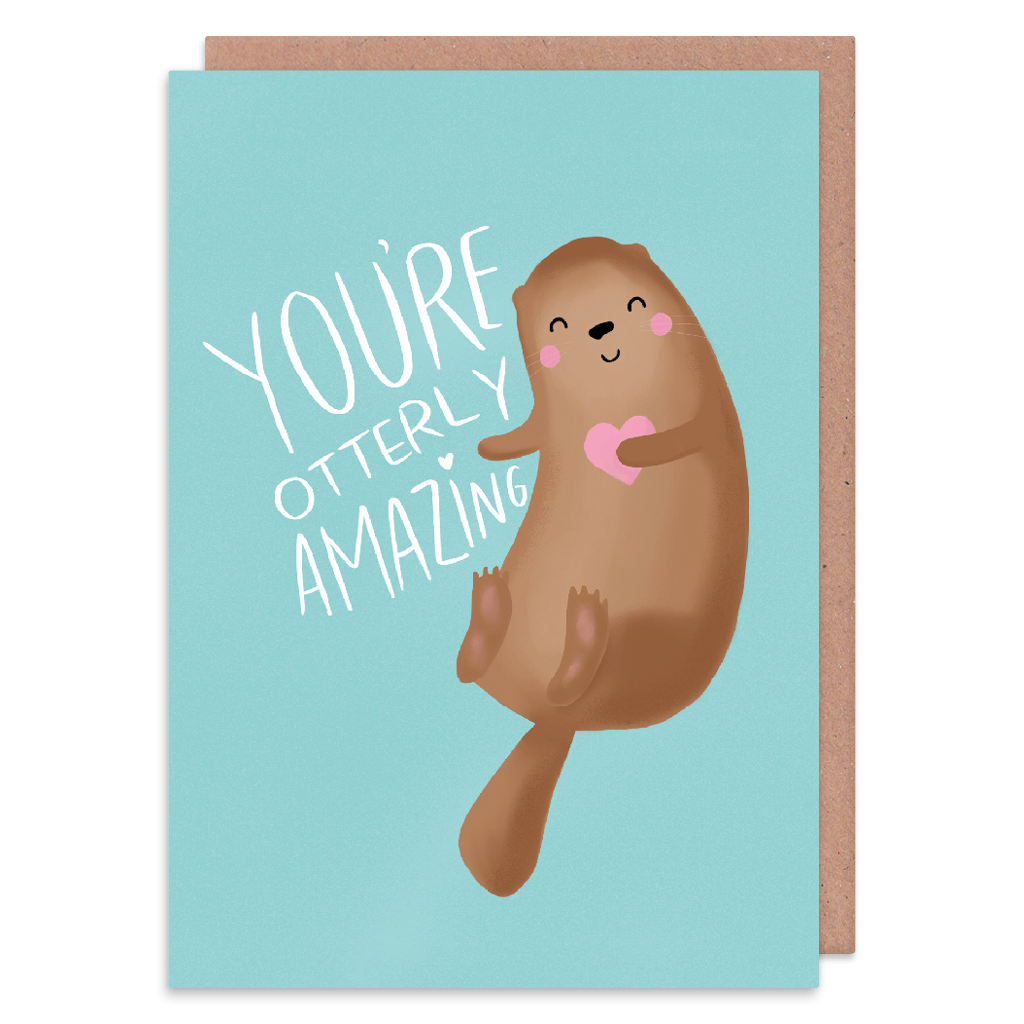 You're Otterly Amazing Greeting Card by Nutmeg and Arlo - Whale and Bird
