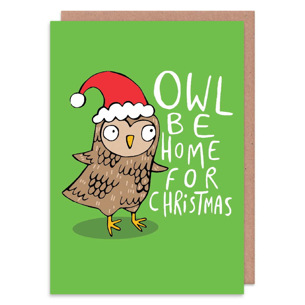 Owl Be Home For Christmas Christmas Card by Katie Abey - Whale and Bird