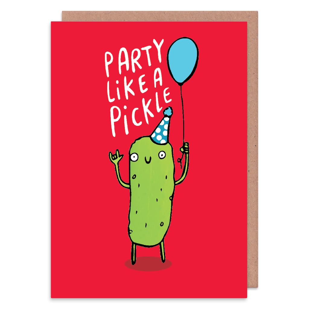 Party Like A Pickle Birthday Card by Katie Abey - Whale and Bird
