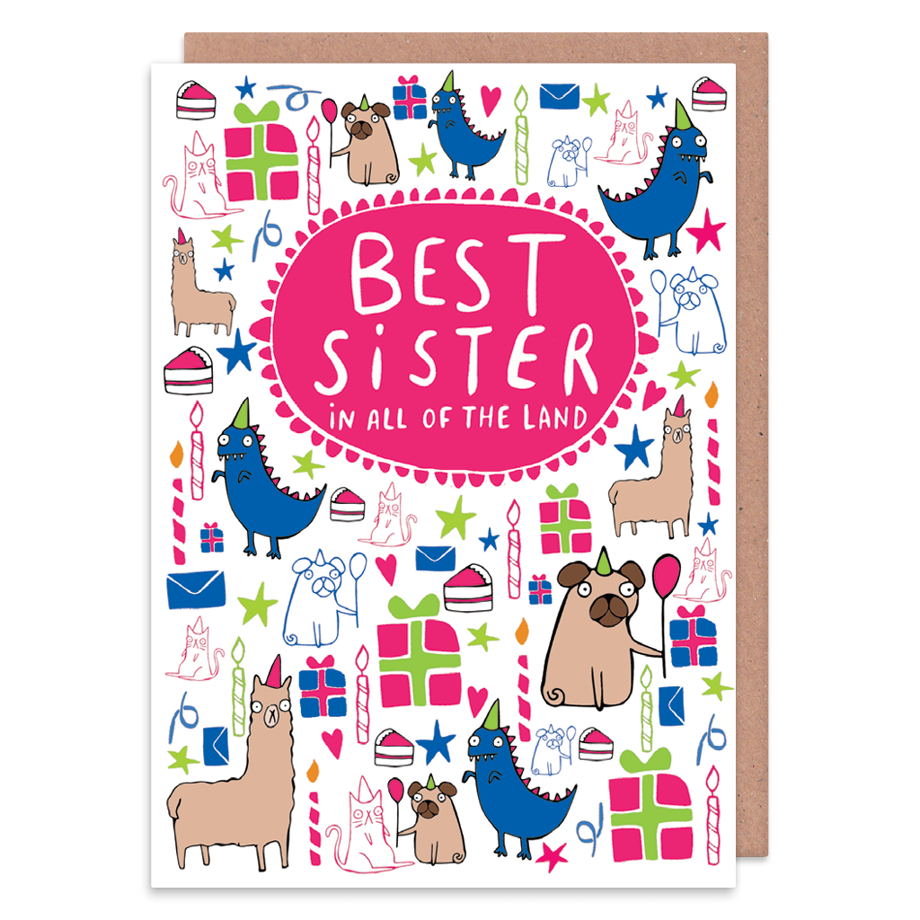 Best Sister In All Of The World Greeting Card by Katie Abey - Whale and Bird