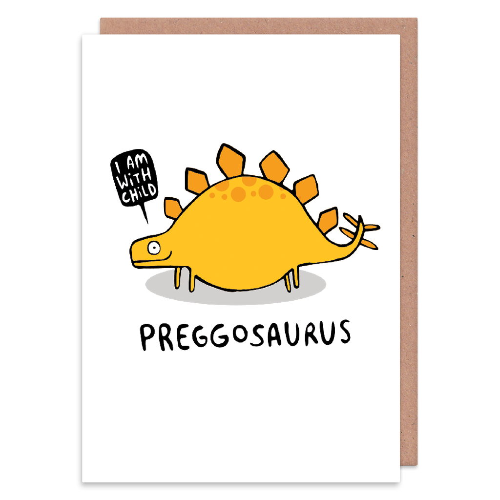 Preggosaurus New Baby Card by Katie Abey - Whale and Bird