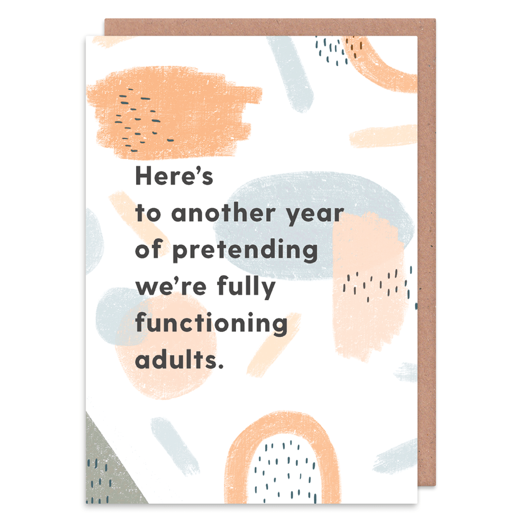 Pretending We're Fully Functioning Adults Greeting Card by Abstract - Whale and Bird