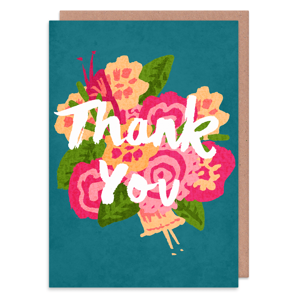 Pretty Flowers Thank You Card by Charly Clements - Whale and Bird