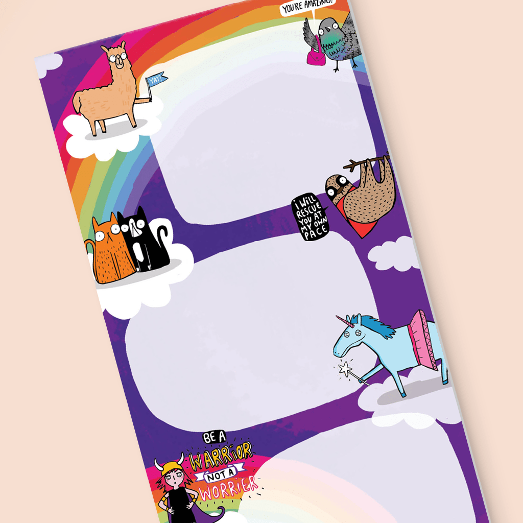 Rainbow To Do List Pad by Katie Abey - Whale and Bird